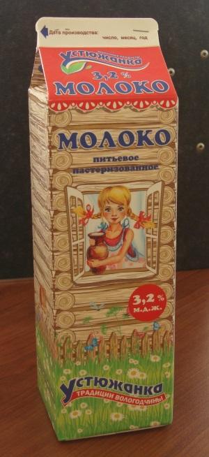 """Молоко питьевое пастеризованное 3,2% """"Устюжанка"""" 1000 Мл."""
