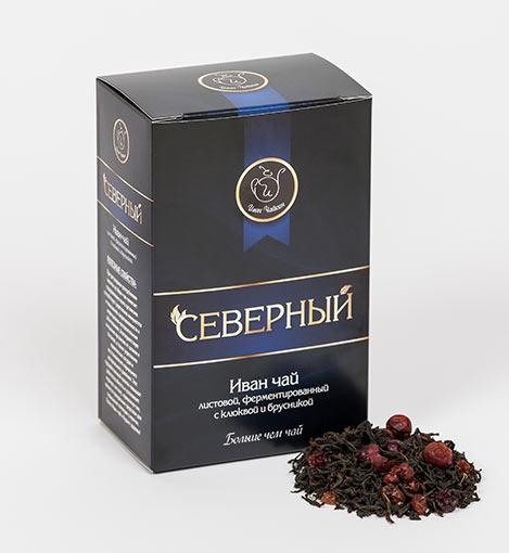 Иван-чай  крупнолистовой с ягодами клюквы и брусники Северный