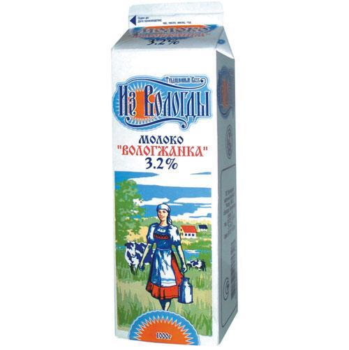 """Молоко питьевое пастеризованное """"Вологжанка"""" 3,2"""
