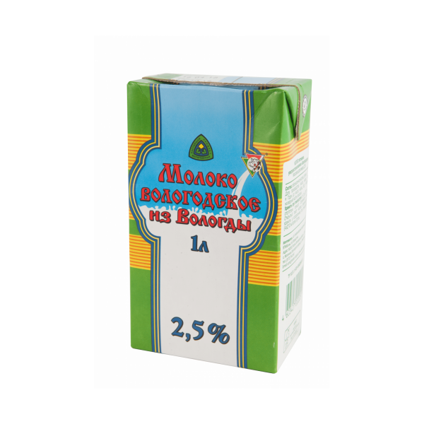 """Молоко питьевое ультрапастеризованное """"Вологодское"""" 1 л 2,5 %"""