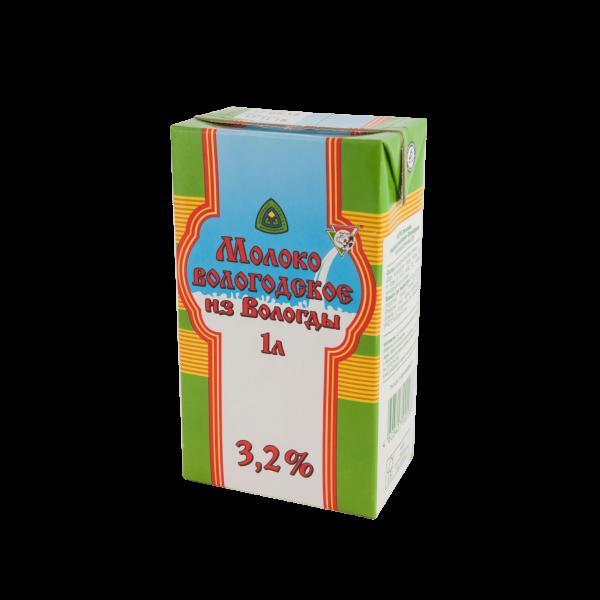 """Молоко питьевое ультрапастеризованное """"Вологодское"""" 1 л 3,2 %"""