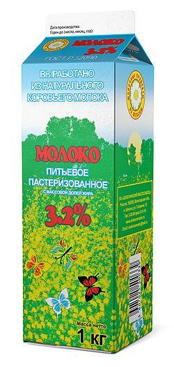 Молоко питьевое пастеризованное, 3,2%, 1000 г (970 мл)