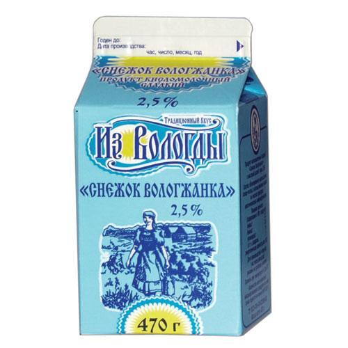 """Продукт кисломолочный сладкий """"Снежок Вологжанка"""" 2,5%"""