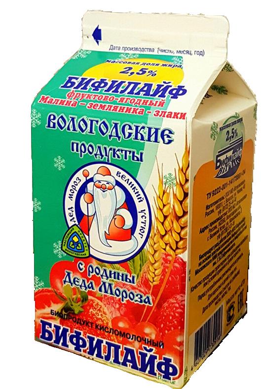 """Бифилайф 2,5% фруктово-ягодный """"Малина-земляника-злаки"""""""