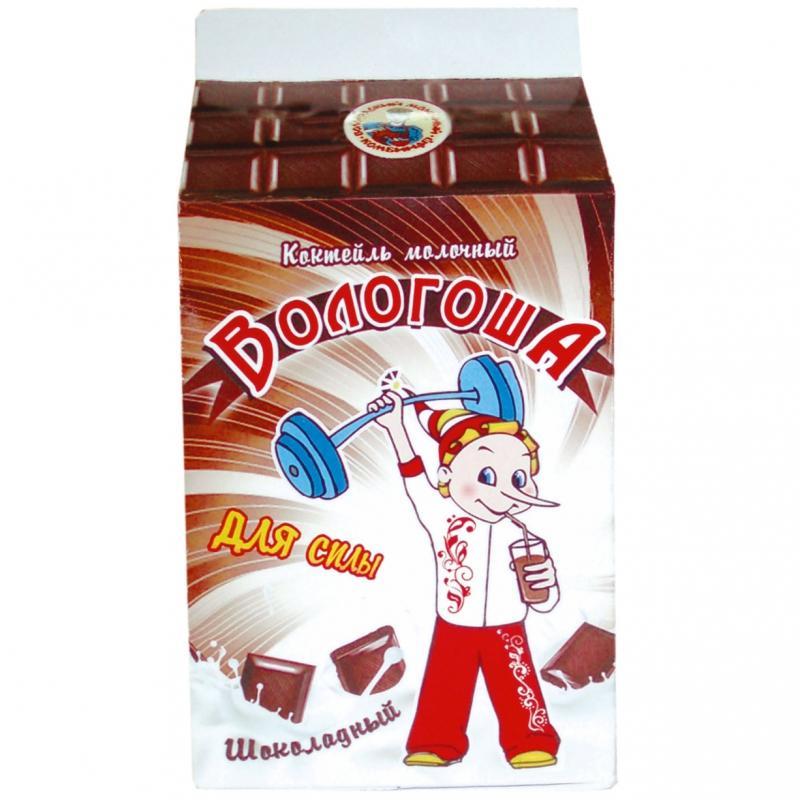 """Коктейль молочный пастеризованный шоколадный """"Вологоша"""" 2,7%"""